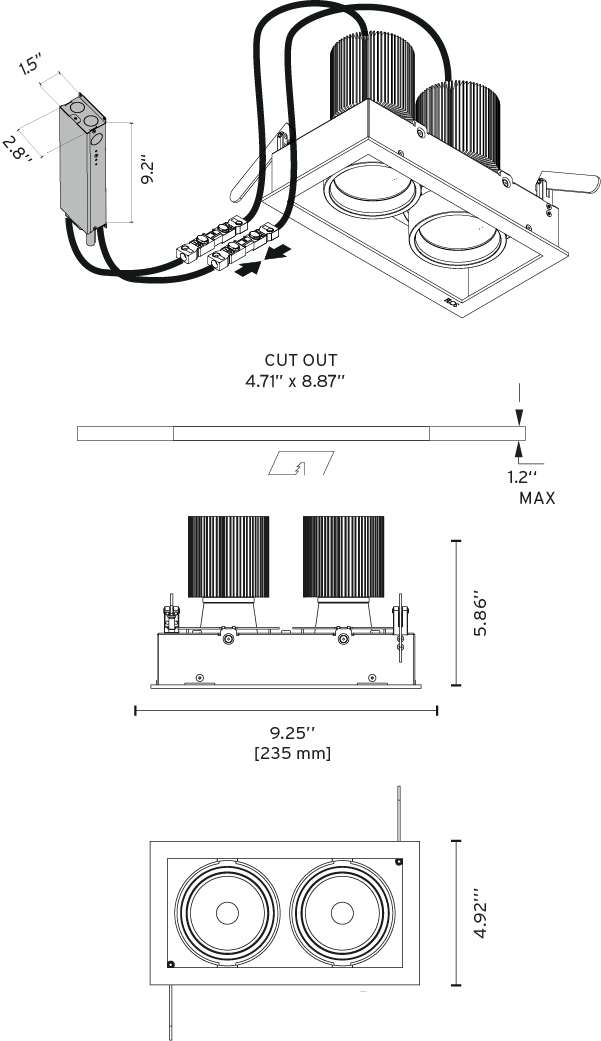 fixed round recessed led downlight
