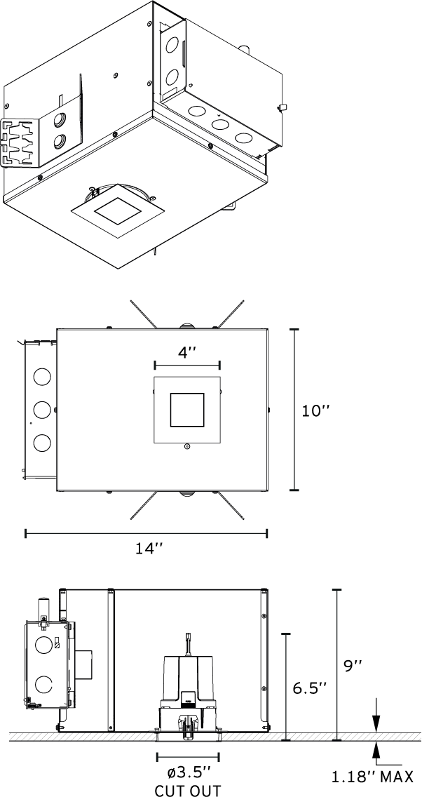 Fixed Square Recessed Downlight